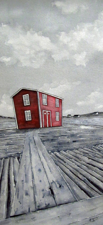Red Stage in Grey (Tilting, Fogo Island)