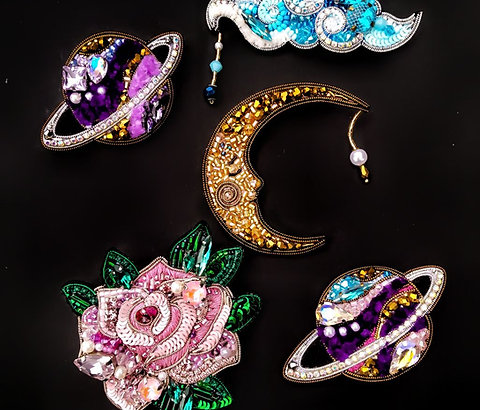 """Beaded brooches """"Fallen Star"""" collection"""