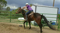 Char looking good and making me proud today on her colt Baby...jpg