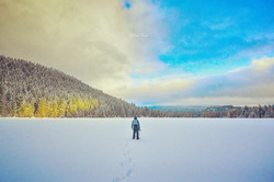 Standing on the frozen lake