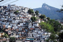 Favela from cable car with Corcavado