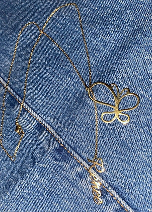 Butterfly Nameplate Necklace
