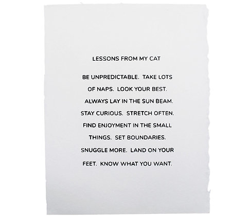 """""""Lessons From My Cat"""" Print"""