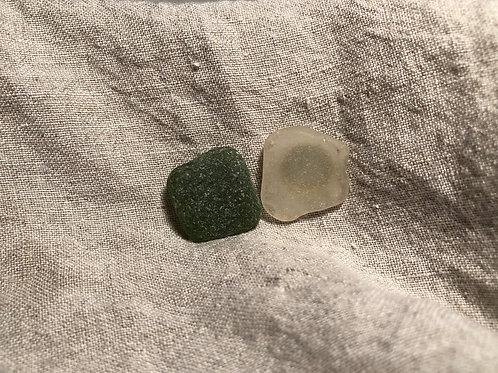 Found Welsh Sea Glass Earrings- green & white