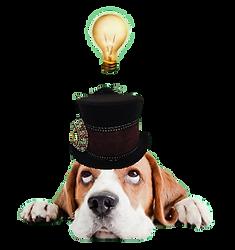 Bassett Hound in Top Hat with Idea Lightbulb