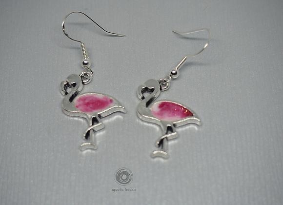 White & pink flamingo drop earrings