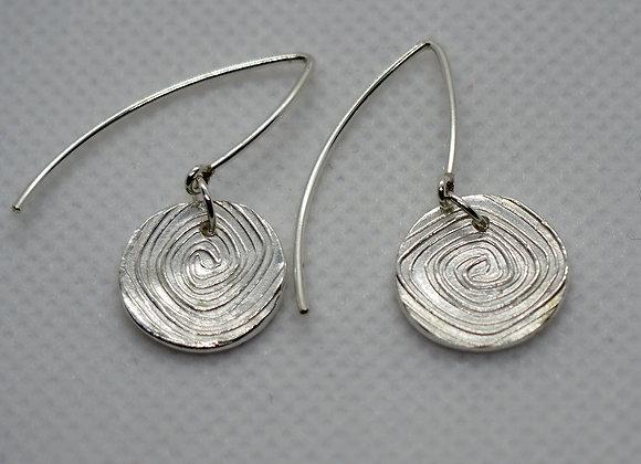 Fine silver crazy spiral drop earrings