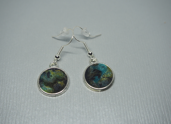 Icelandic landscape round drop earrings