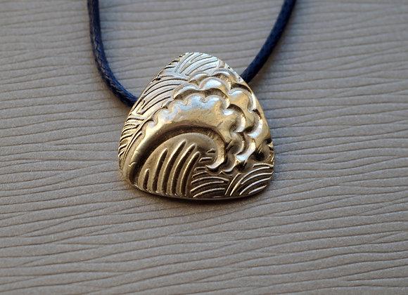 Wave fine silver pendant
