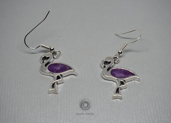 Purple flamingo drop earrings