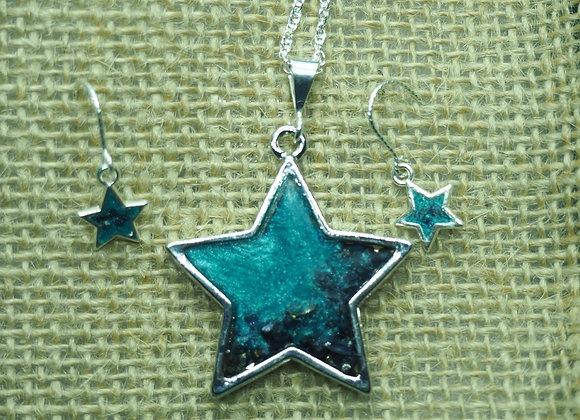 Sea stars pendant & drop earring set