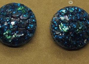 Ocean blue glitter mermaid stud earrings