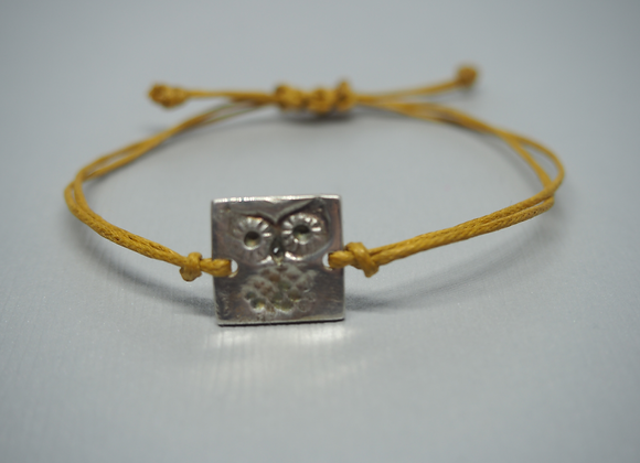 Silver owl adjustable bracelet