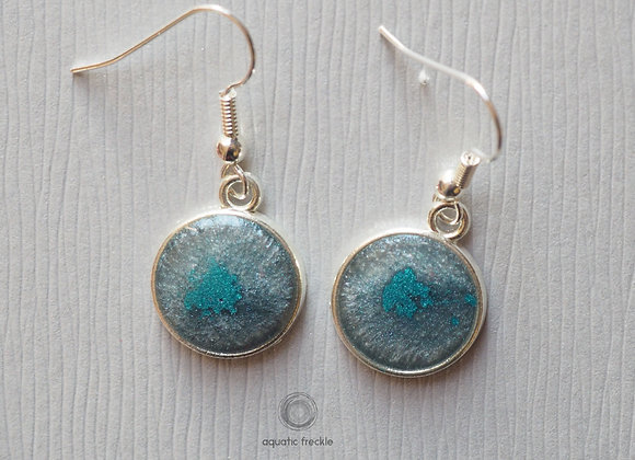 Silvery-grey with turquoise swoosh round drop earrings