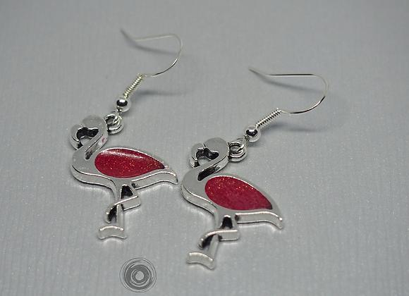 Glitter pink flamingo drop earrings