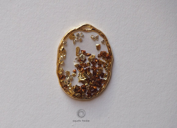 Gold Rustic oval pendant