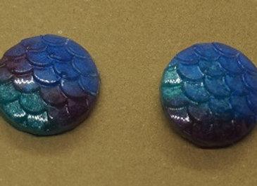 Rainbow mermaid stud earrings