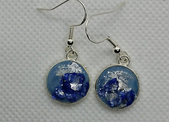 Blue ice round drop earrings