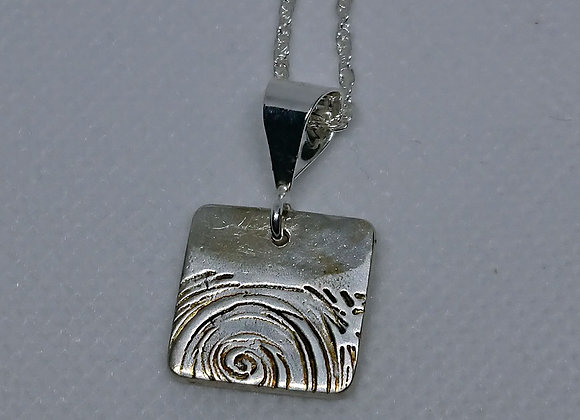 Choppy seas silver pendant
