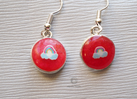 Red rainbow round drop earrings