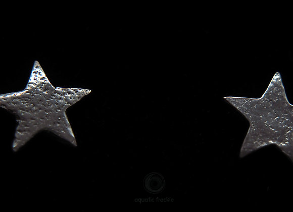 Fine silver stars stud earrings
