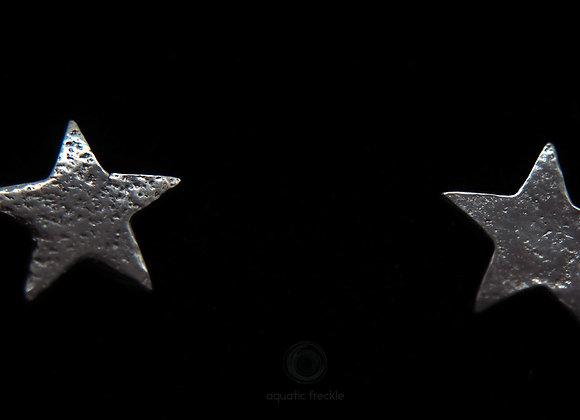 Fine silver stars stud earrings