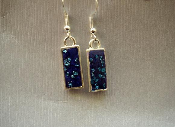 Sea sparkle rectangular drop earrings