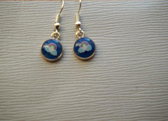 Tiny blue rainbow round drop earrings