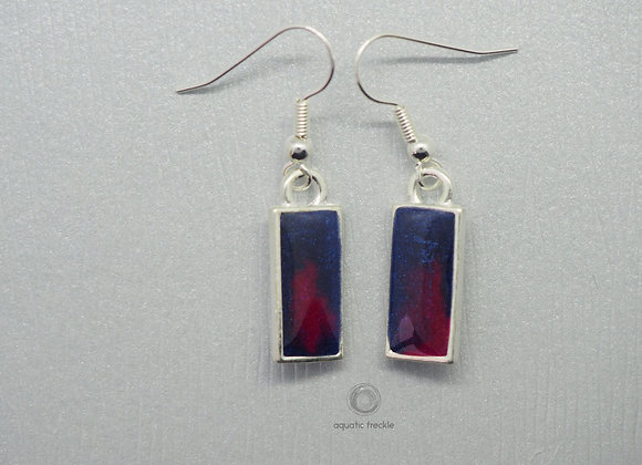 Navy and cerise rectangular drop earrings