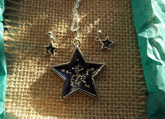 Sky of stars pendant & drop earring set