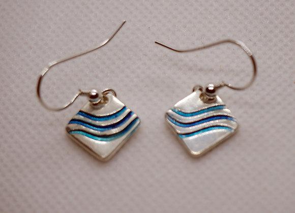 Blue waves fine silver drop earrings