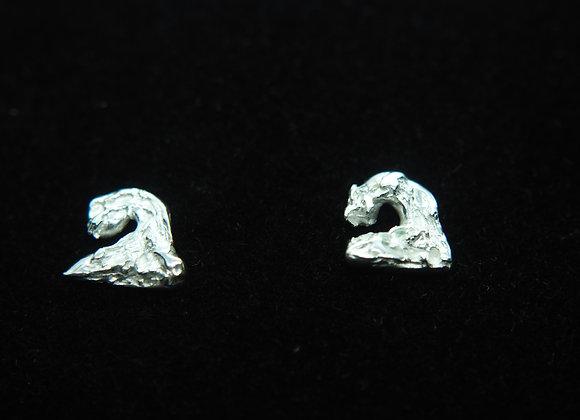 Fine silver wave stud earrings