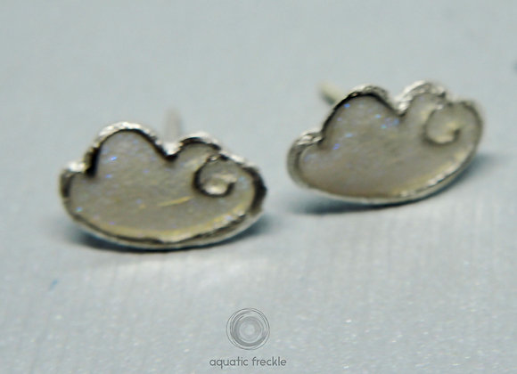 Fine silver/resin  cloud stud earrings (blue shimmer)