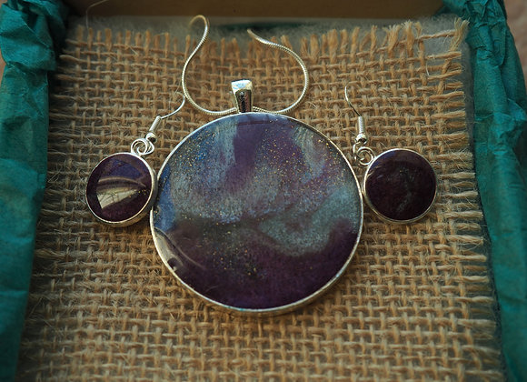 Purple Aurora pendant and earring set