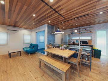諫早市の工務店スマイフルホームで新築した長崎の格好いい注文住宅のフレームキッチン