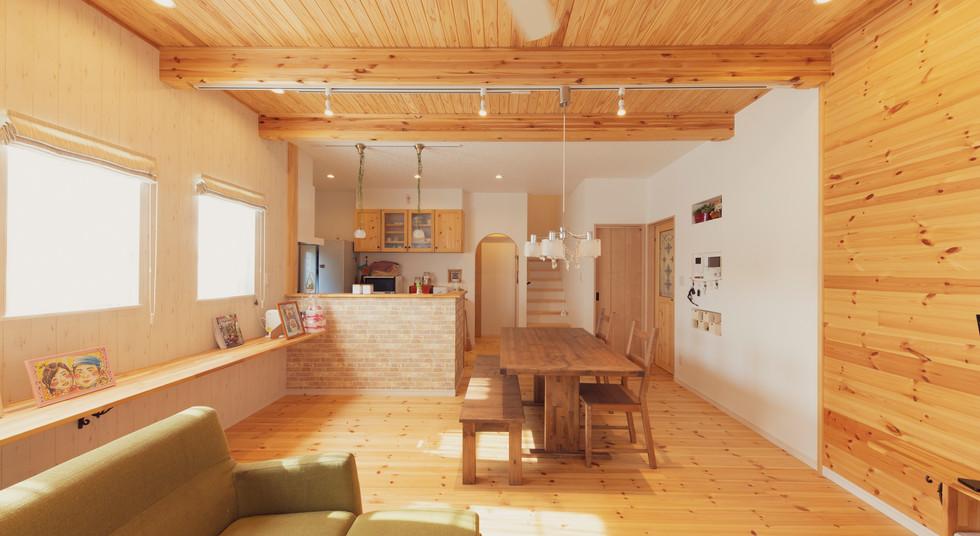 諫早市の工務店スマイフルホームで新築した長崎の注文住宅のLDKg