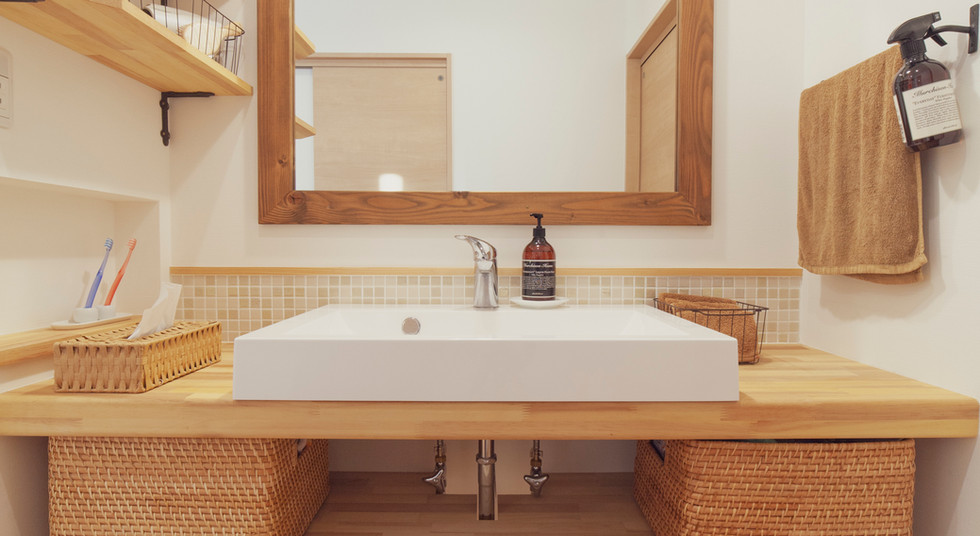 諫早市の工務店スマイフルホームで新築した長崎の可愛い注文住宅の洗面台