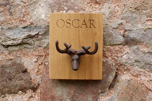 Oak Mini Stag Head & Antlers Hook