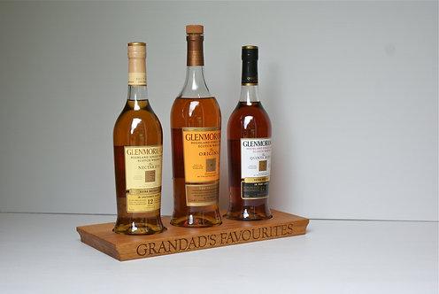 Oak 3 Bottle Spirit Plinth