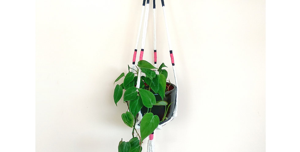 Pink & Black colour wrap macrame plant hanger