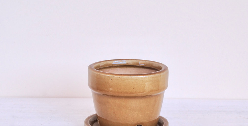 """Small """"honey"""" ceramic pot with tray"""