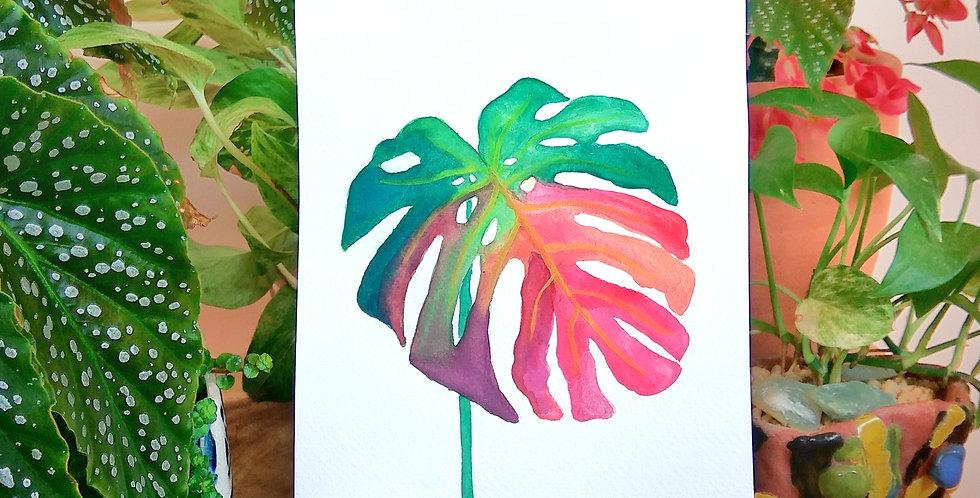 Hand painted art  'Watercolour Monstera'