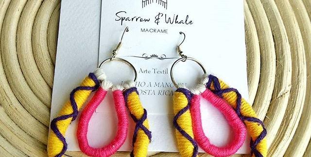 'Flamingo' Macrame Earrings