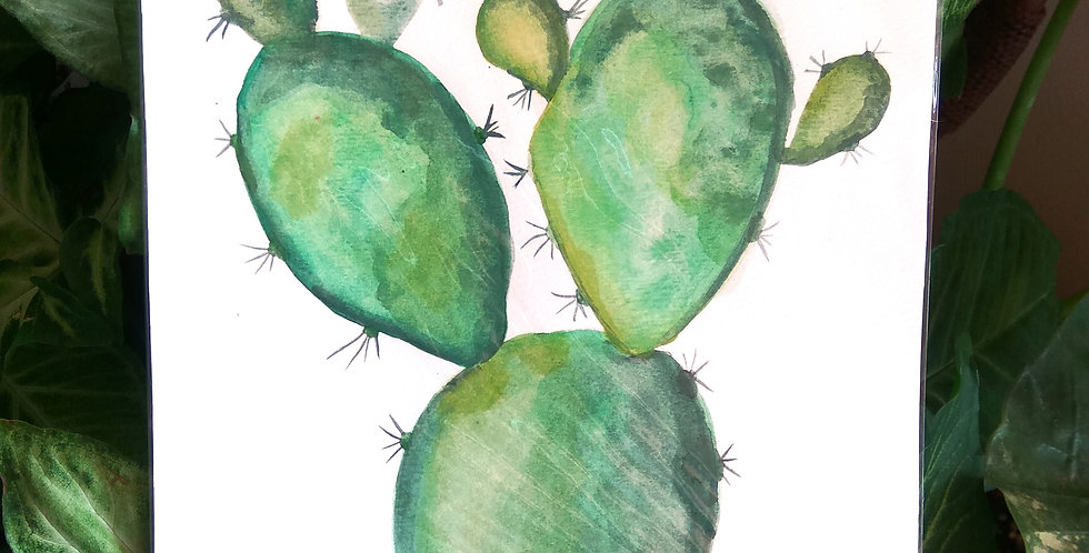 Handmade Art 'Prickly Pear Cactus'