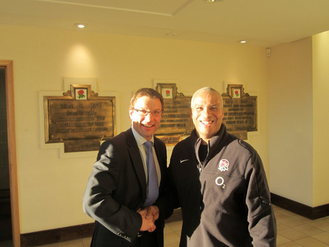 Photo shoot with Rob Andrew at Twickenham Stadium