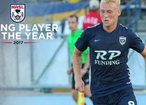 Colin takes Jack Blake to NASL Young Player of the Year award