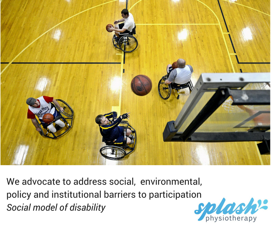 Splash core value: we advocate to address social, environmental, policy and institutional barriers to participation. Image shows people playing wheelchair basketball, image shot from above.