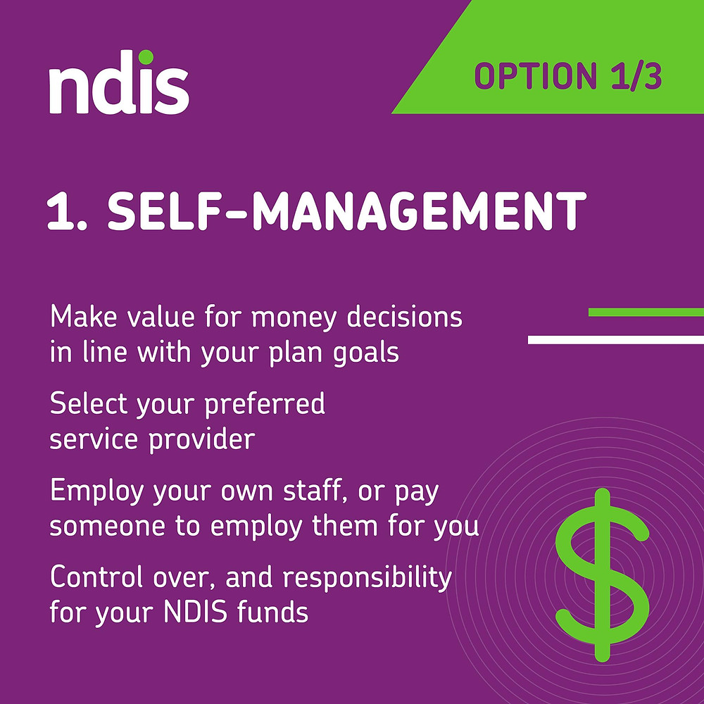 NDIS 1. self management. make value fo money decisions in line with your plan goals. Sleect your preferred service provder. Employ your own staff or pay someone to employ them for you. Control over, and responsibility for, your NDIS funds.