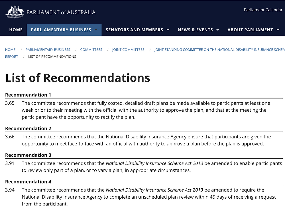 Snapshot from the NDIS Planning inquiry recommendations showing the first 4 or 14