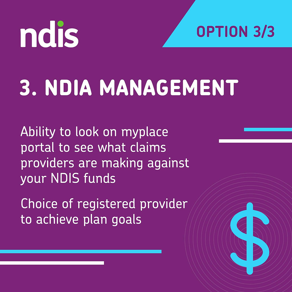 NDIA management. Ability to look on myplace portal to see what claims providers are making against your NDIS funds. Choice of registered provider to achieve plan goals.